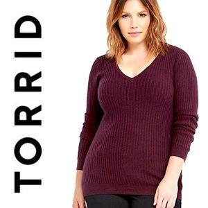 Torrid Merlot Long Sleeve Ribbed V-Neck Sweater
